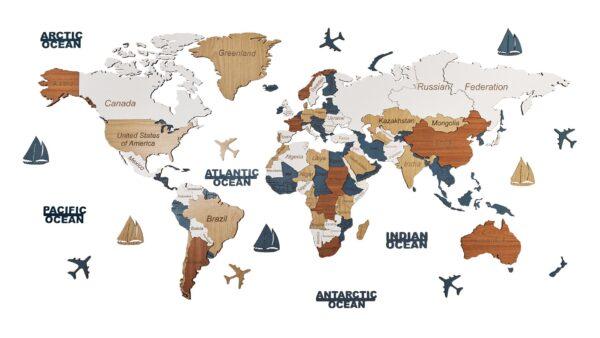 Harta lumii 3D ENTIRE WORLD (M- 150*75 cm)