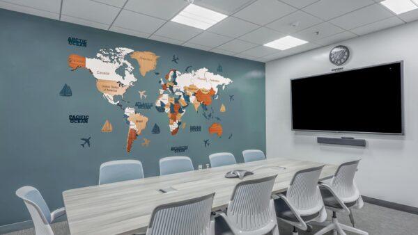 Harta lumii 3D ENTIRE WORLD (XL-250*125 cm)