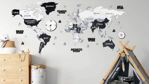 Harta lumii 3D SCANDINAV (M- 150*75 cm)