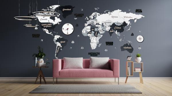 Harta lumii 3D SCANDINAV (XXL- 300*150 cm)
