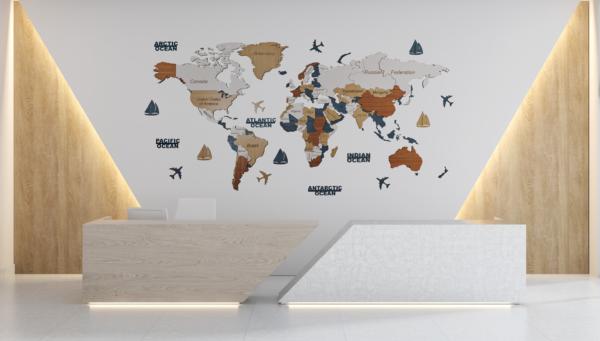 Harta lumii 3D ENTIRE WORLD (XXL- 300*150 cm)