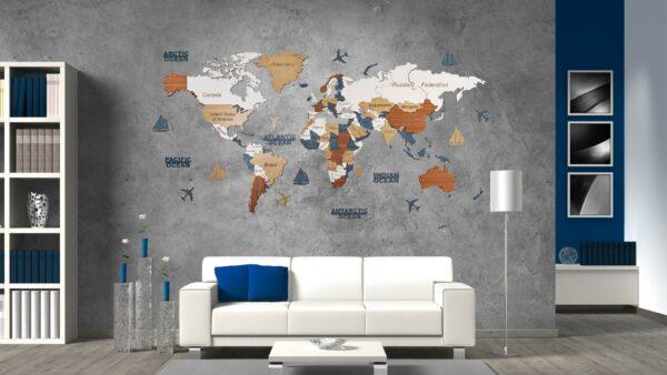Harta lumii 3D ENTIRE WORLD (L- 200*100 cm)